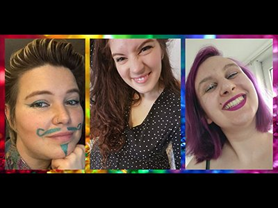 Three pictires of people in different coloured frames, they wear colourful make up and pull happy faces