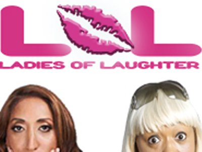 Three women are on a white background with the words Ladies of laughter