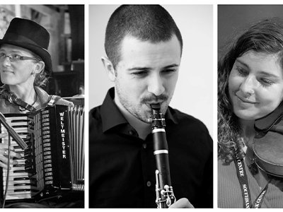Black and white photos of three musicians, one is playing the accordion. one is playing a clarinet and one is playing a violin