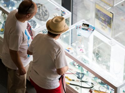 two people looking into a glass cabinet