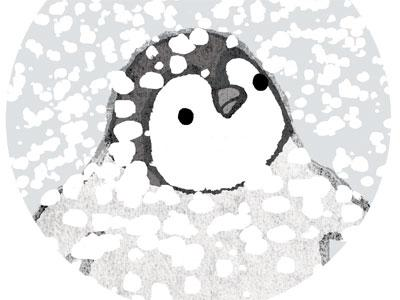 An illustration of a baby penguin looking at falling snow