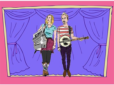 Two cartoon figures hold instruments, a banjo and an accordian, in front of a curtained backdrop