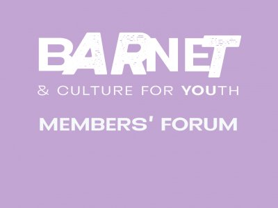 A lilac background with the Barnet & Culture for Youth logo in white and Members' Forum written in white