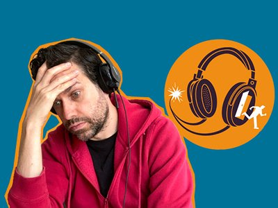 Michael Spicer is wearing a hoodie and headphones, he has one hand on his forehead and looks exasperated. Next to him is an orange logo of some headphones with a stick figure escaping through an open door.