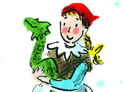 An illustration of a girl with red-blonde hair under a cloth is holding a small green dragon.