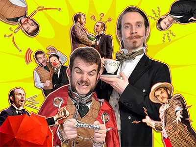 Lots of cut out images of two magicians on a yellow background