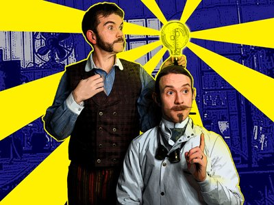 Two men in Victorian-type clothing. One is holding a lightblub. One has had an idea and indicates this by holding up one finger.