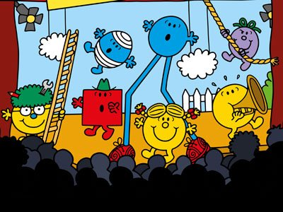Colourful Mr Men cartoon characters appear on a hand drawn stage in front of a hand drawn audience in silhouette.