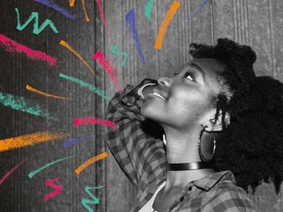 a black and white profile image of a young woman looking up smiling, adorned with colourful scribbles