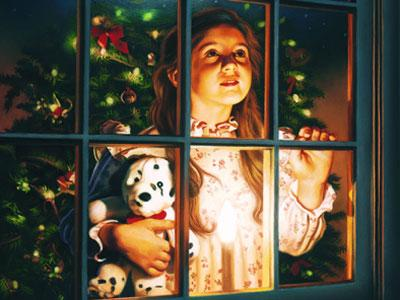 An image of a young girl clutching a teddy bear as she looks out of a window into the starry night while a sleigh flies overhead.
