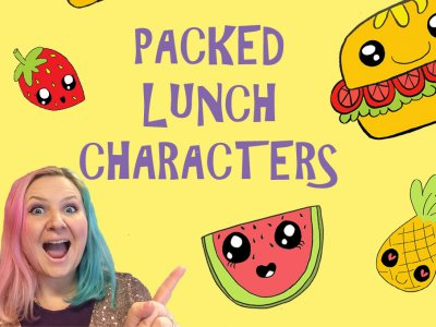a colourful illustration of food with faces and the name of the workshop packed lunch characters with a woman's smiling face in the bottom