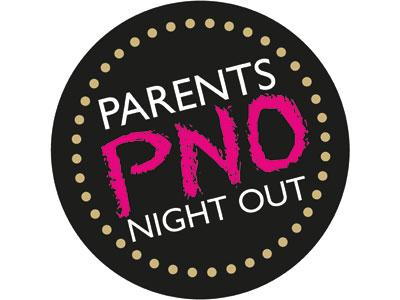 An image of a white, black and pink logo for Parents' Night Out