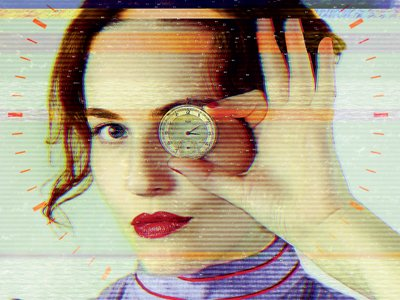 Passionate Machine: Rosy Carrick, in an old-fashioned purple dress, holds a clock face in fornt of her eye, looking into the camera with the other one. A red digital clockface frames her face. A computer glitch distorts the image.