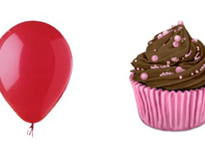 An image of a balloon next to a chocolate cupcake