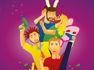 Cartoon figures four performers, two have water pistols, one wears donkey ears and is being kissed by one dressed as a fairy