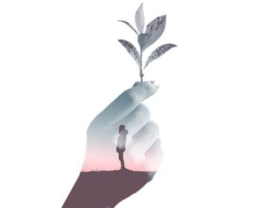 A drawing of a hand holding up a seedling; a person is silhouetted in the palm