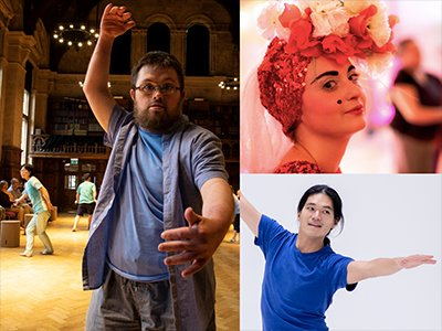 Three images, one is of a young man dancing, the next someone in a floral headdress and bold make up, the last is someone striking a balletic pose