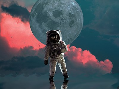 An astronaut is in front of a large grey moon and pink cloud filled sky
