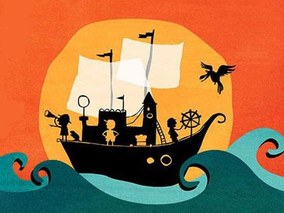 The Hunting of the Snark - An illustrated ship sails past the Setting Sun on a choppy blue ocean
