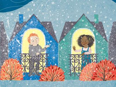 Two houses with illuminated windows in the snow, two children standing in a window each