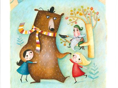 Illustration of two little girls dancing with a bear wearing a scarf and a bowler hat