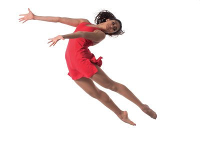 Spring Showcase - a woman in a red dress jumping into the air, her legs and neck arched back