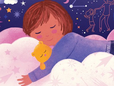 An illustration of a child asleep on a cloud.