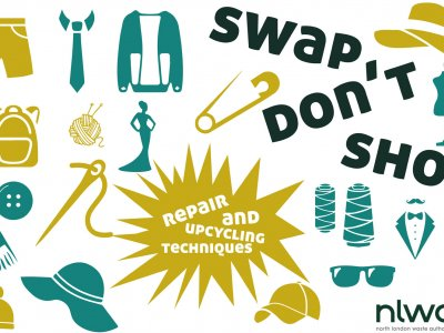 """the words """"swap don't shop"""" on a white background surrounded by pictograms of clothes items"""