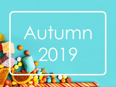Autumn 2019. White letters on blue background.
