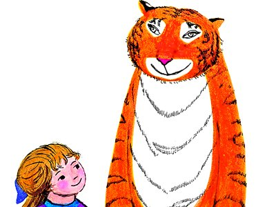 An illustration of a tiger and a small girl smiling at each other.