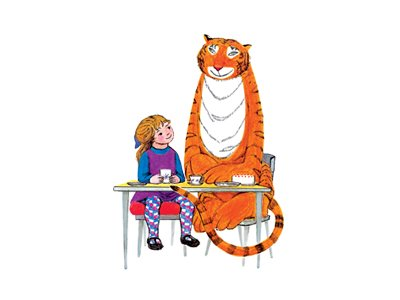 The Tiger Who Came to Tea: an illustration of a girl and a tiger sitting on a table.