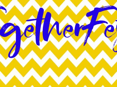 TogetherFest written in blue over a yellow zig-zag pattern