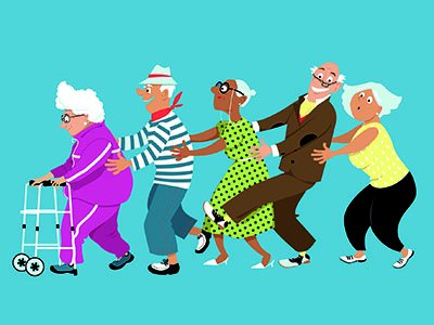 An illustration of 5 older people holding onto each other in the style of a conga  line, the person at the front holds a zimmerframe