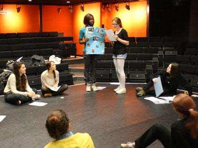 Group workshop on Studio Theatre stage