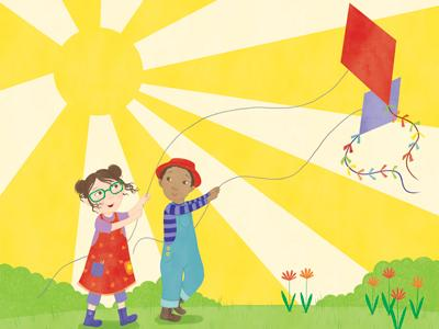 Yellow is the Colour of Sunshine: two children letting their kites fly in the sunshine