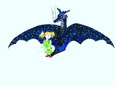 You've Got Dragons: an illustration of a large blue dragon with a young girl with blonde hair in front of it