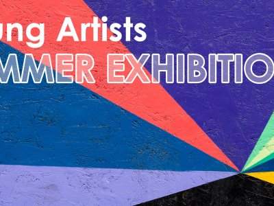 Image of a painted wall with geometric shapes in blue, pink, green, yellow and black. Text on the image reads 'Young Artists Summer Exhibition'