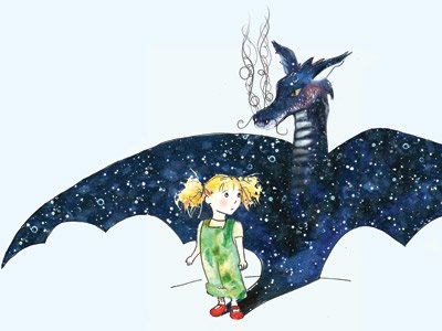 you've got dragons: an illustration of a little girl who's shadow takes the from of a dragon with midnight-blue wings and smoke rising from its nostrils