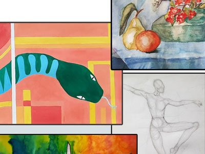 A selection of drawings and paintings, from pencil still lifes to watercolour impressions of snakes and cityscapes