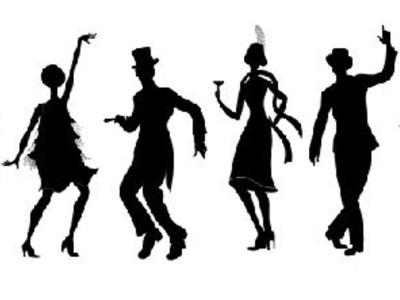 Decades of Dance: silhouettes of 1920s male and female dancers against a plain white background