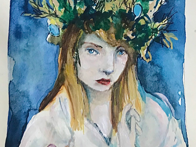 woman in green headress
