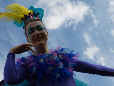 Image of stilt walker at Labyrinth Festival