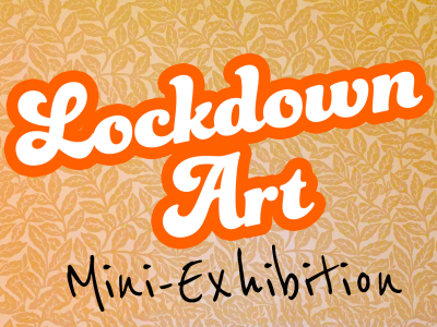 lockdown art text on a funky background