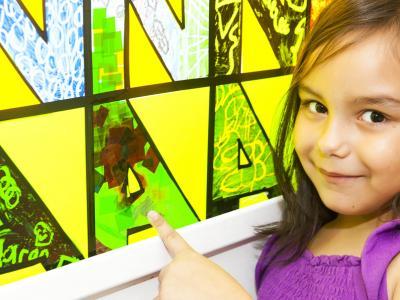 image of Noah's Ark participant next to artwork